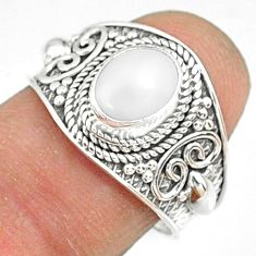 2.19cts natural white pearl 925 sterling silver solitaire ring size 7.5 r81447