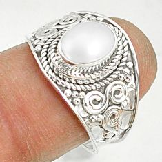 2.11cts natural white pearl 925 sterling silver solitaire ring size 7.5 r81454