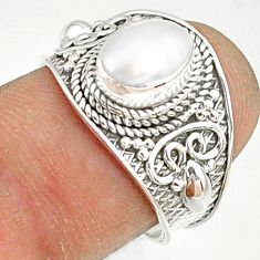 2.17cts natural white pearl 925 sterling silver solitaire ring size 7.5 r81455
