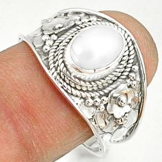 2.19cts natural white pearl 925 sterling silver solitaire ring size 8.5 r81459