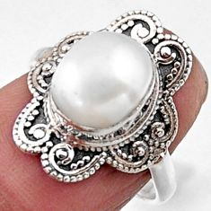 4.06cts natural white pearl 925 sterling silver solitaire ring size 6 r54496
