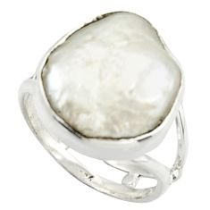 7.79cts natural white pearl 925 sterling silver solitaire ring size 7 d46582