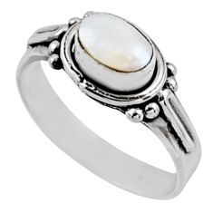 1.56cts natural white pearl 925 sterling silver solitaire ring size 7 r54415