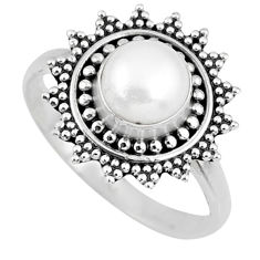 2.57cts natural white pearl 925 sterling silver solitaire ring size 7 r57451