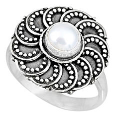1.00cts natural white pearl 925 sterling silver solitaire ring size 7 r57893