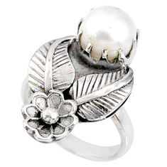 3.16cts natural white pearl 925 sterling silver solitaire ring size 7 r67496