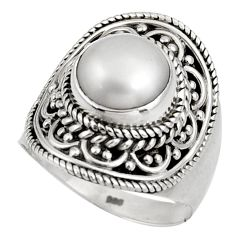 5.51cts natural white pearl 925 sterling silver solitaire ring size 8 d39012