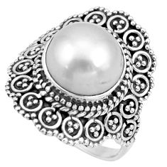 6.09cts natural white pearl 925 sterling silver solitaire ring size 8 r26931