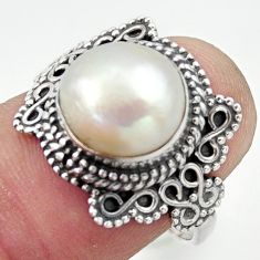5.79cts natural white pearl 925 sterling silver solitaire ring size 8 r40500