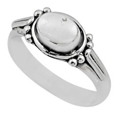 1.57cts natural white pearl 925 sterling silver solitaire ring size 8 r54414