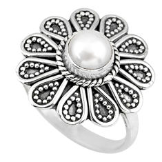 1.15cts natural white pearl 925 sterling silver solitaire ring size 8 r57432