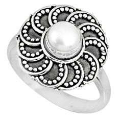 0.88cts natural white pearl 925 sterling silver solitaire ring size 8 r57894
