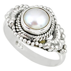 2.39cts natural white pearl 925 sterling silver solitaire ring size 8 r58189