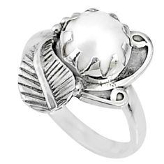 4.38cts natural white pearl 925 sterling silver solitaire ring size 8 r67293