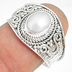 2.14cts natural white pearl 925 sterling silver solitaire ring size 8 r81443