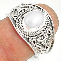 2.19cts natural white pearl 925 sterling silver solitaire ring size 8 r81457