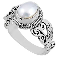 2.01cts natural white pearl 925 sterling silver solitaire ring size 9 r54476
