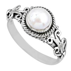 2.33cts natural white pearl 925 sterling silver solitaire ring size 9 r57372