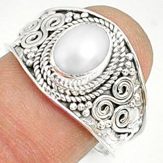 2.14cts natural white pearl 925 sterling silver solitaire ring size 9 r81442