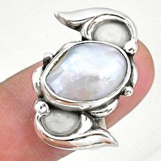 6.08cts natural white pearl 925 sterling silver solitaire ring size 7.5 t16294