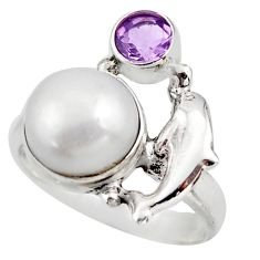 5.79cts natural white pearl amethyst 925 silver dolphin ring size 7 d46097
