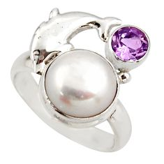 5.78cts natural white pearl amethyst 925 silver dolphin ring size 7 d46135