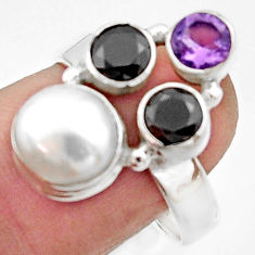 5.52cts natural white pearl amethyst 925 sterling silver ring size 7.5 r22942