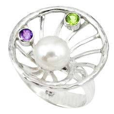 Natural white pearl amethyst 925 sterling silver ring size 6 c16968