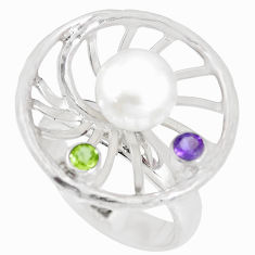 3.68cts natural white pearl amethyst peridot 925 silver ring size 7 c25437