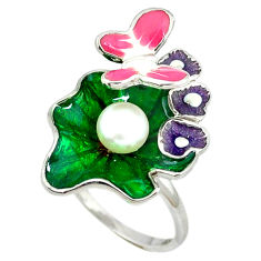 Natural white pearl enamel 925 silver butterfly ring size 7 c16766