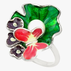 Natural white pearl enamel 925 silver butterfly ring size 8 c16774