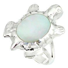 3.26gms natural white pearl enamel 925 silver tortoise ring size 6 c11934