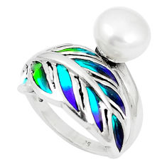 Natural white pearl enamel 925 sterling silver ring size 6.5 c20754