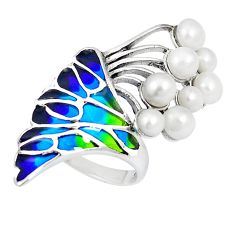Natural white pearl enamel 925 sterling silver ring size 7.5 c20766