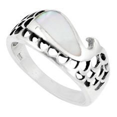 4.26gms natural white pearl enamel 925 sterling silver ring size 8.5 c21440