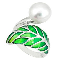 Natural white pearl enamel 925 sterling silver ring jewelry size 5.5 c20758