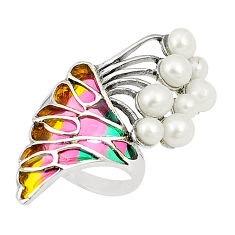 Natural white pearl enamel 925 sterling silver ring jewelry size 6.5 c20779