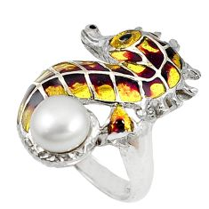 Natural white pearl enamel 925 sterling silver seahorse ring size 7.5 c22877