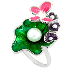 Natural white pearl enamel 925 sterling silver butterfly ring size 7 c16778