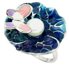 Natural white pearl enamel 925 sterling silver butterfly ring size 7 c16763