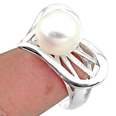 6.54cts natural white pearl heart 925 sterling silver ring jewelry size 9 c23898