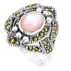 2.44cts natural white pearl marcasite 925 sterling silver ring size 6 c16205