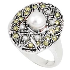 1.22cts natural white pearl marcasite 925 silver ring size 7 a93636 c24871