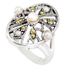 2.44cts natural white pearl marcasite 925 sterling silver ring size 7.5 c20782