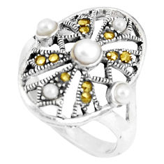 2.51cts natural white pearl marcasite 925 sterling silver ring size 7.5 c20789