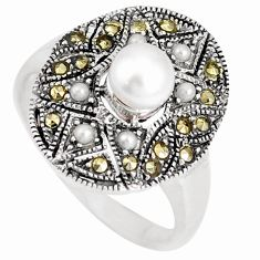 2.01cts natural white pearl marcasite 925 sterling silver ring size 8.5 c26194