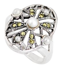 1.22cts natural white pearl marcasite 925 sterling silver ring size 6.5 c26196