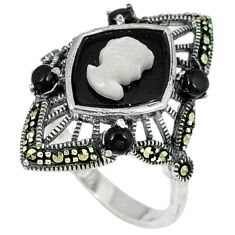 Natural white pearl marcasite 925 sterling silver ring jewelry size 8.5 c22965