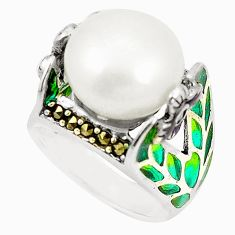 Natural white pearl marcasite enamel 925 silver ring size 8 c20732