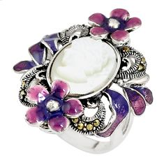 Natural white pearl marcasite enamel lady face 925 silver ring size 6.5 c21420